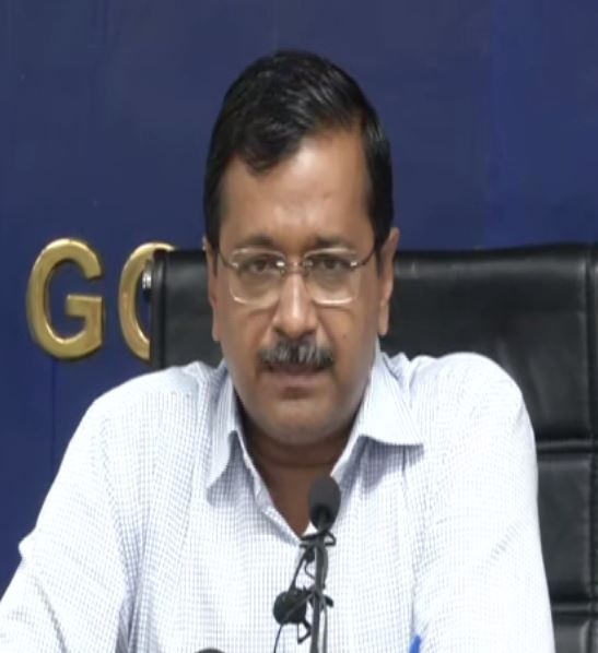 Delhi CM Arvind Kejriwal addressing a press conference in New delhi on Friday