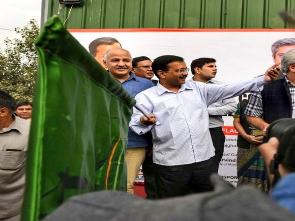 Delhi chief minister Arvind Kejriwal flagging off 100new buses in New Delhi on Thursday. (Photo/ANI)