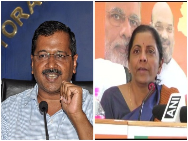 Delhi Chief Minister Arvind Kejriwal (left) and Union Finance Minister Nirmala Sitharaman (right)