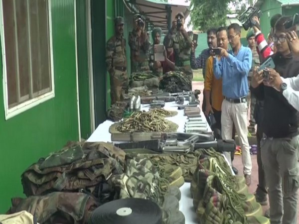 "Cache of arms and ammunitions recovered by army during ""Operation Kekru Naga"" (Photo/ANI)"