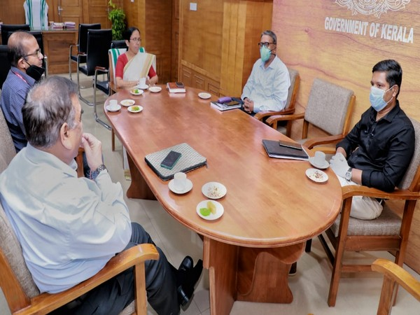 Health Minister KK Shailaja meeting with the Central team.