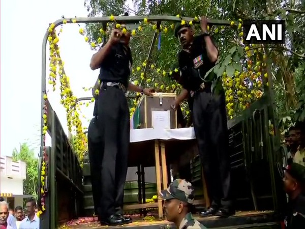 Mortal remains of a soldier Naik Akhil SS brought to his native place in Thiruvananthapuram on Friday.
