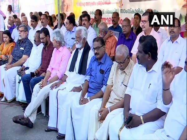 Kerala BJP leader Kummanam Rajasekharan and other leaders present at the protest site in Thiruvananthapuram on Friday.