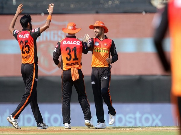 SRH players celebrate the fall of a Punjab wicket. (Image: BCCI/IPL)