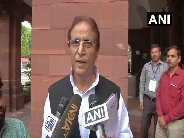 SP MP Azam Khan speaking to reporters in New Delhi on Monday. Photo/ANI