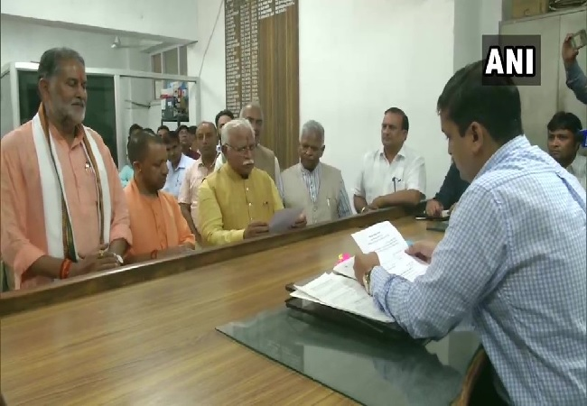 Haryana Chief Minister Manohar Lal Khattar filed his nomination for the assembly polls in Karnal on Tuesday.