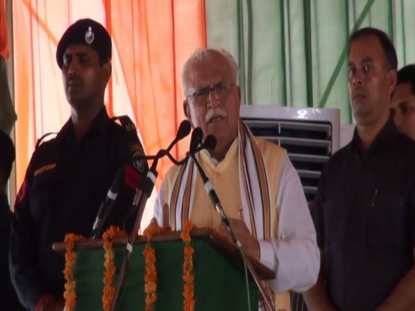 Chief Minister Manohar Lal Khattar speaking at an event in Fatehabad on Friday. Photo/ANI