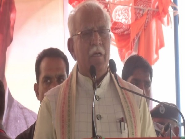 Haryana Chief Minister Manohar Lal Khattar speaking at a public meeting in Julana. Photo/ANI