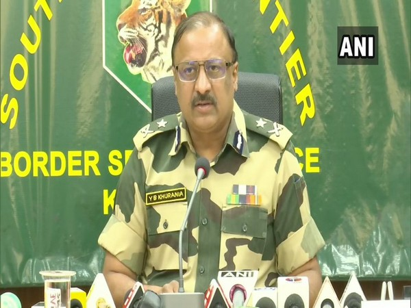 Inspector General (IG) of Border Security Force (BSF), Frontiers Headquarters, South Bengal, Y B Khurania speaking at a press conference in Kolkata on Wednesday. Photo/ANI