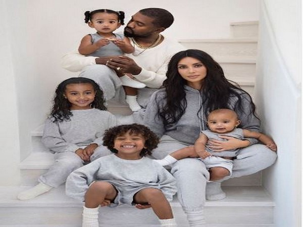 Kim Kardashian with Kanye West and family.