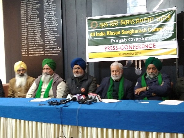 A press conference of AIKSCC in Chandigarh, Punjab on Monday.