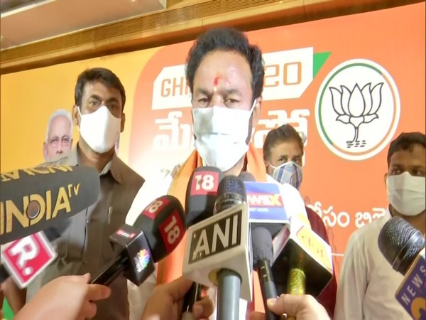 Minister of State for Home Affairs G Kishan Reddy speaking to media in Hyderabad on Thursday. (Photo/ANI)
