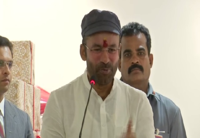 MoS for Home Affairs G Kishan Reddy speaking in Hyderabad, on Sunday. Photo/ANI