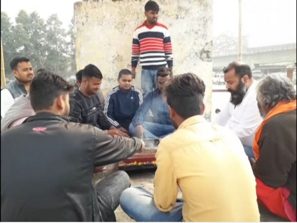 Bajrang Dal activists performing hawan in Ruidhasa Maidan in Kishanganj (Photo/ANI)