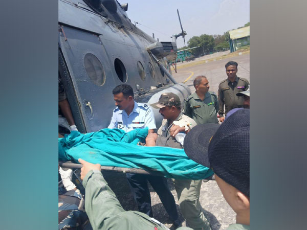 A helicopter unit of IAF airlifting critically injured survivors of bus accident in Kishtwar.