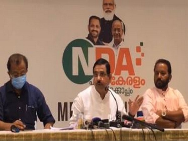 Visual of press conference addressed by Union Minister Pralhad Joshi (in centre) (Photo/ANI)