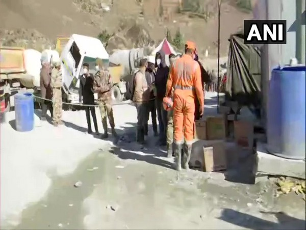 Rescue operation temporarily halted in Chamoli district following a rise in the level of water in Rishiganga river. (Photo/ ANI)