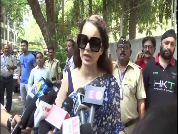 Kangana Ranaut speaking to reporters in Mumbai on Monday