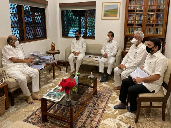 Visual of the meeting chaired by NCP Chief, Sharad Pawar (Photo/ANI)