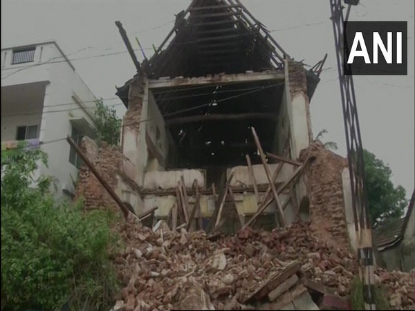 A portion of the over 600-year-old Kadavumbhagam synagogue in Kochi collapsed