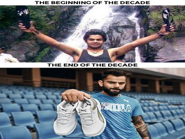 Virat Kohli's decade comparison pictures. (Photo/Virat Kohli Twitter)
