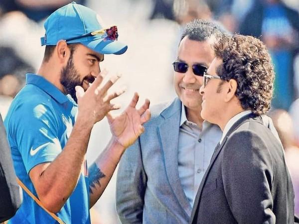 Indian skipper Virat Kohli with former cricketer Sachin Tendulkar and Virender Sehwag.