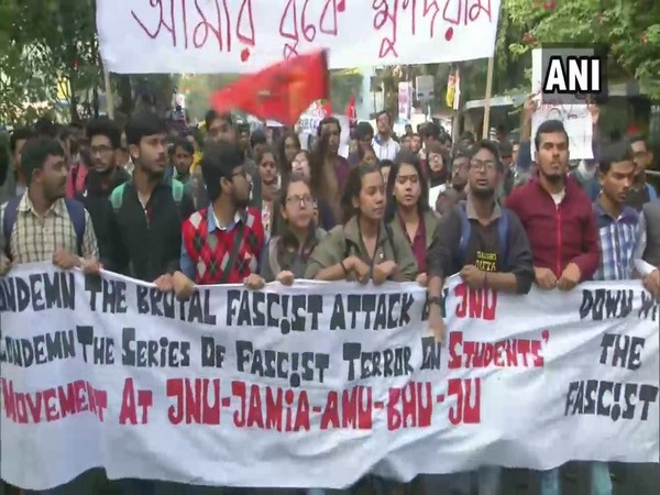 Visuals from protest by Jadavpur University students in Kolkata on Monday.