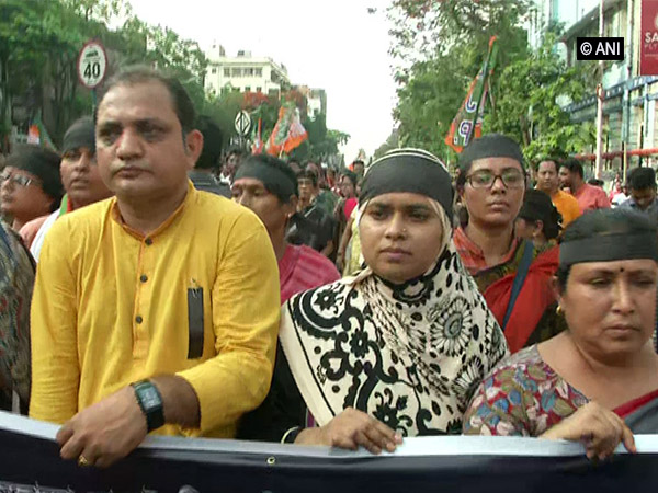 BJP women's cell participate in protest rally in  Kolkata on June 10. Photo/ANI