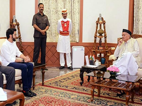Shiv Sena leader Aaditya Thackeray along with party leaders meeting Governor Bhagat Singh Koshiyari, at Raj Bhavan in Mumbai on Monday. (ANI Photo)