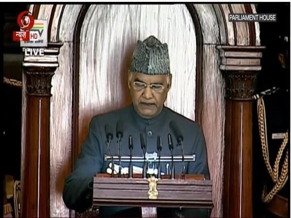 President Ram Nath Kovind addressing Parliament.