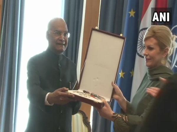 President Ram Nath Kovind receiving the award from his Croatian counterpart Kolinda Grabar-Kitarović on Tuesday in Zagreb, Croatia