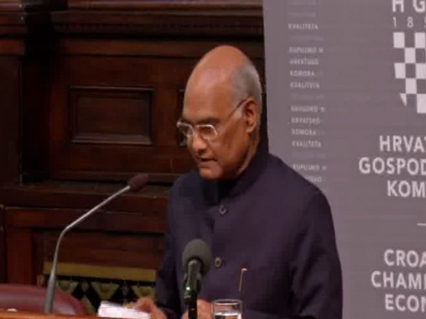President Ram Nath Kovind at the India-Croatia Business Forum in Zagreb, Croatia, on Wednesday.