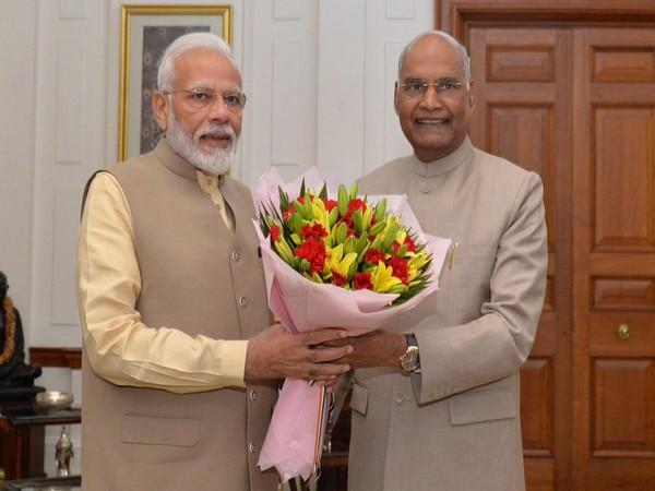 Prime Minister Narendra Modi with President Ram Nath Kovind in New Delhi on Sunday. Photo/ANI