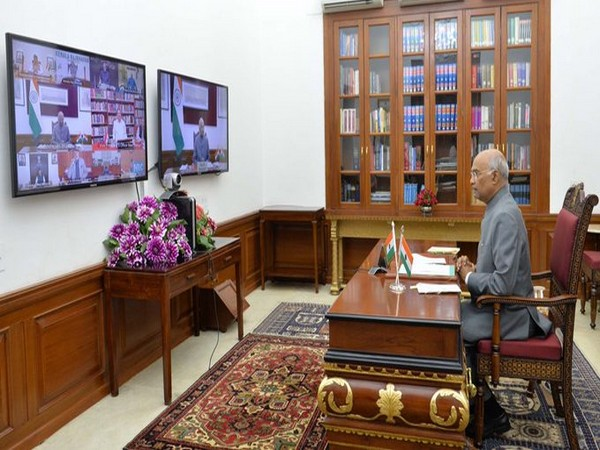 President Kovind interacts with governors and other officers via video conferencing on Friday.