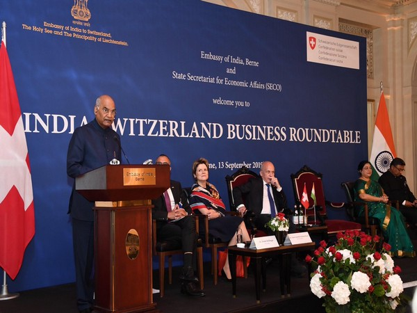 President Kovind addressing India-Switzerland Business Roundtable in Berne. Photo/Twitter