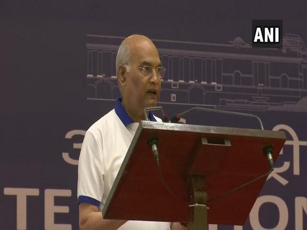 President Ram Nath Kovind addressing gathering at Rashtrapati Bhavan on International Yoga Day,