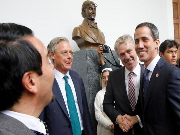 Germany's Ambassador to Venezuela, Daniel Kriener, with Opposition leader Juan Guaido