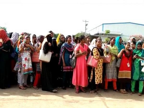 Karvy BPO workers stage protest in Krishna district [Photo/ANI]