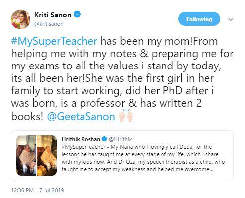 Here's who Kriti Sanon calls her 'super teacher'