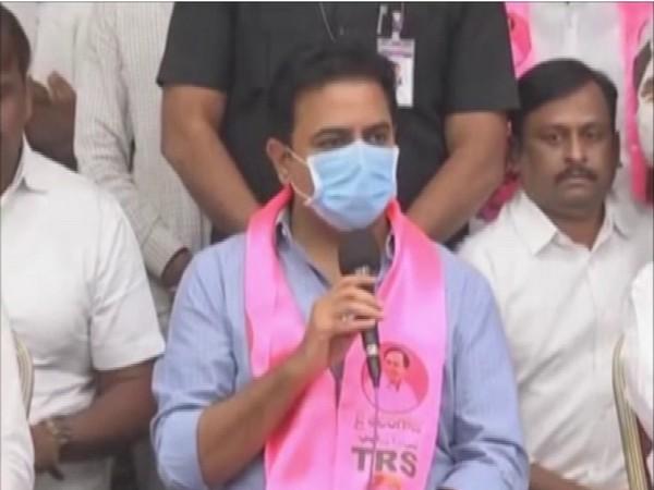 Telangana Minister KT Rama Rao talking to media on Sunday. (Photo/ANI)