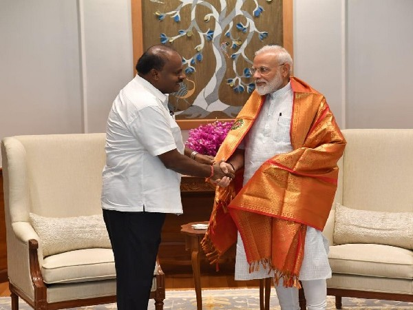 Karnataka chief minister HD Kumaraswamy meeeting Prime Minister Narendra Modi in New Delhi on June 15. Photo/ANI