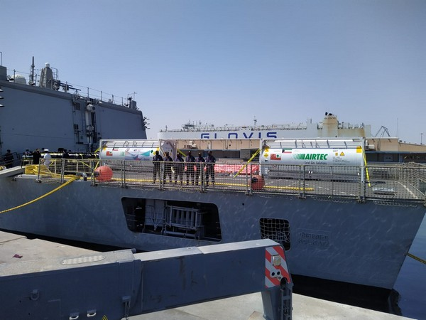 INS Kolkata carrying medical supplies departs from Kuwait (Photo Credit: Twitter/ India in Kuwait)