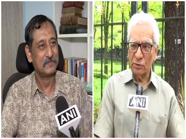Scientist PC Ghosh (left), former ISRO scientist Surendra Paul talking to ANI on Friday. Photo/ANI