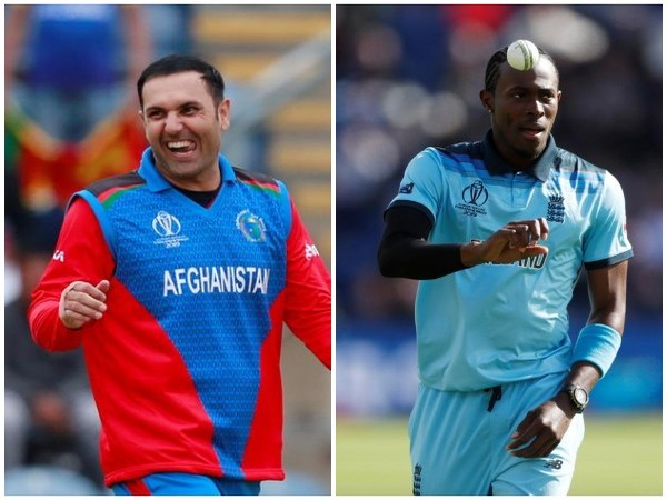 Afghanistan's Mohammad Nabi (L); England's Jofra Archer (R)