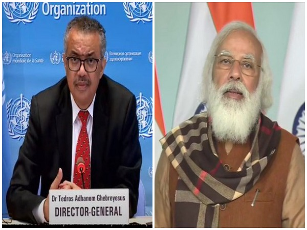 WHO chief Tedros Adhanom Ghebreyesus and Prime Minister Narendra Modi