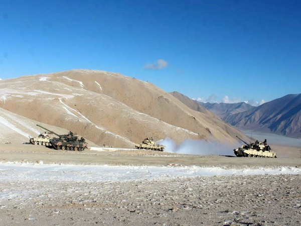 Indian and Chinese troops and tanks disengaging from the banks of the Pangong lake area in Eastern Ladakh on February 16. (Photo/ANI)