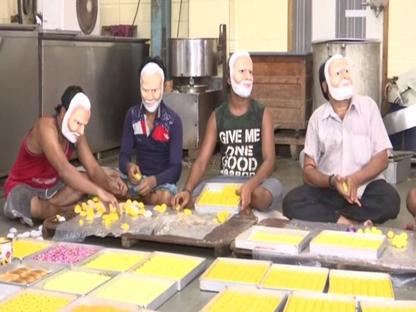 Workers preparing laddus in Mumbai on Tuesday. Photo/ANI