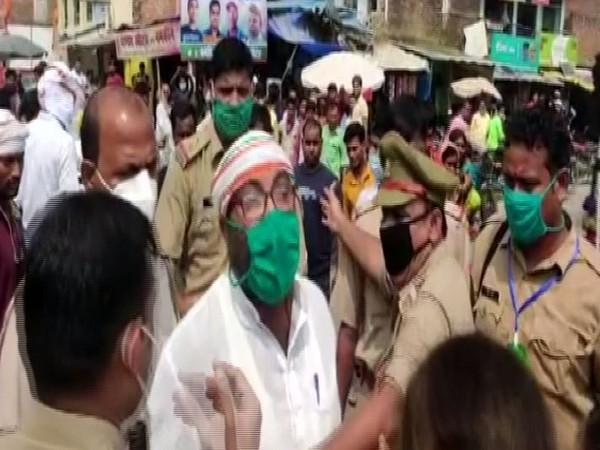 Uttar Pradesh Congress chief Ajay Kumar Lallu was detained on way to Mahoba on Monday. (Photo: ANI)