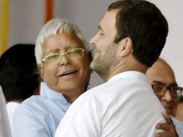 RJD leader Lalu Yadav and Congress president Rahul Gandhi (file photo)