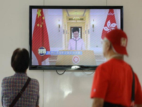 Carrie Lam delivering her third policy address via TV after her session at the legislative council was disrupted by pro-democracy lawmakers on Wednesday. Photo/ANI